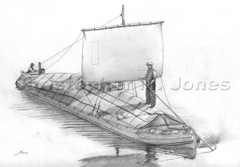 Narrow boat under sail
